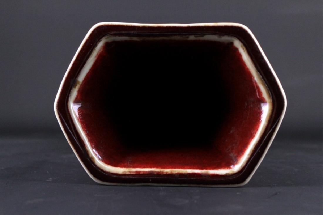 Large Chinese Qing Porcelain Red Glaze Vase - 4