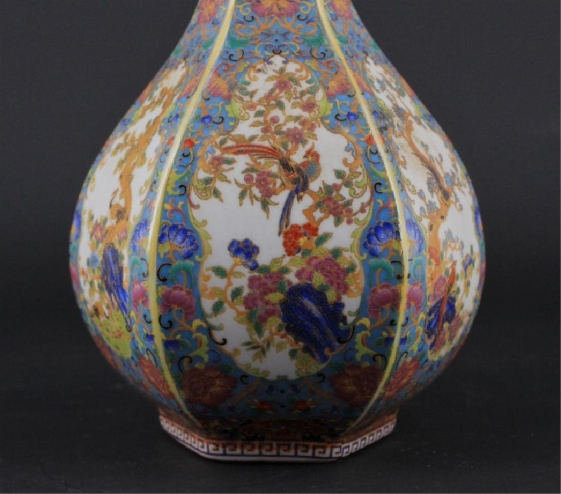 Chinese Qing Enamel Painted Porcelain Vase - 5