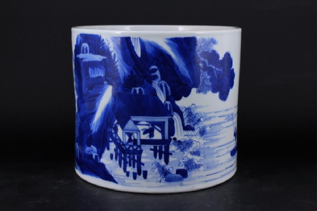 Chinese Qing Porcelain Blue White Brush Pot