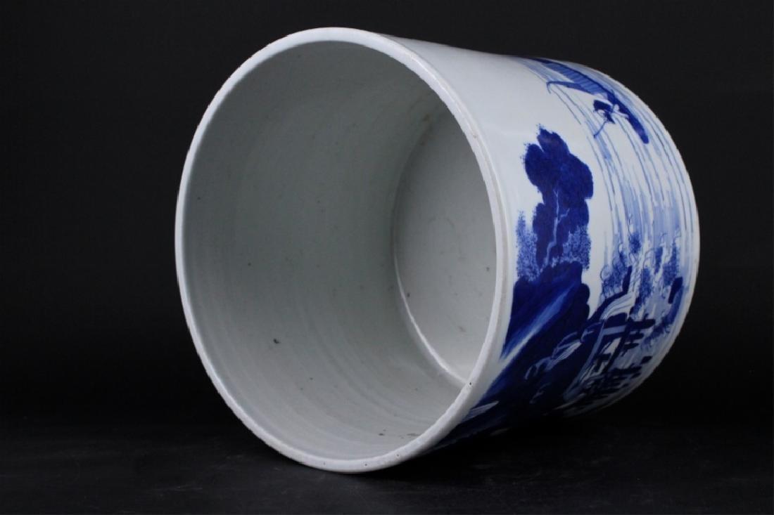 Chinese Qing Porcelain Blue White Brush Pot - 6