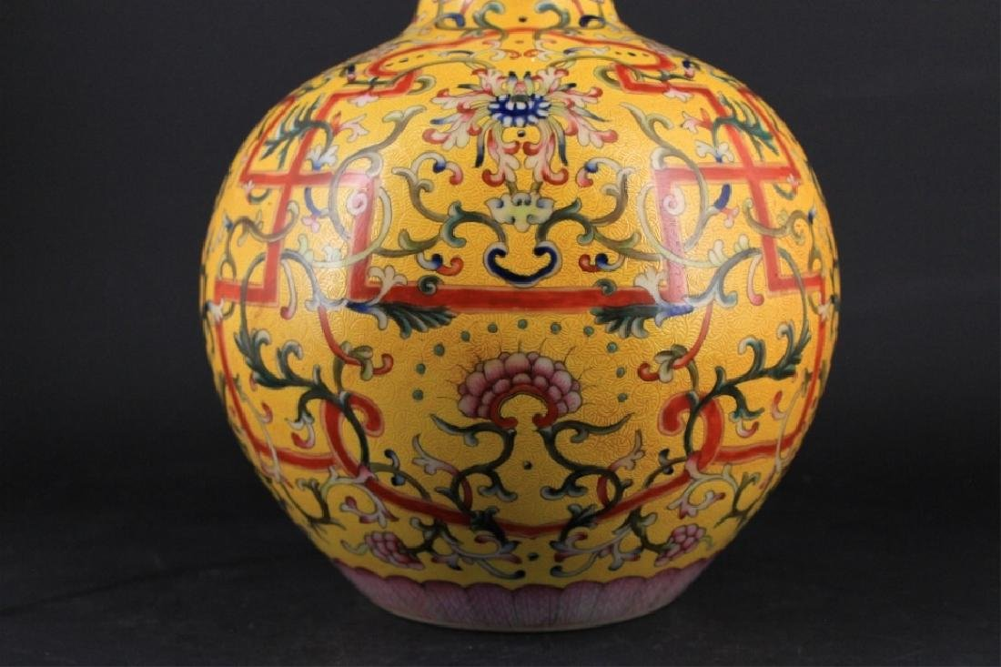 Large Chinese Qing Porcelain Famille Rose Gourd Va - 3