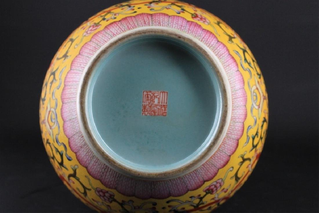 Large Chinese Qing Porcelain Famille Rose Gourd Va - 8