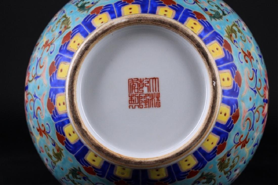 Large Chinese Qing Porcelain Famille Rose Gourd Va - 10