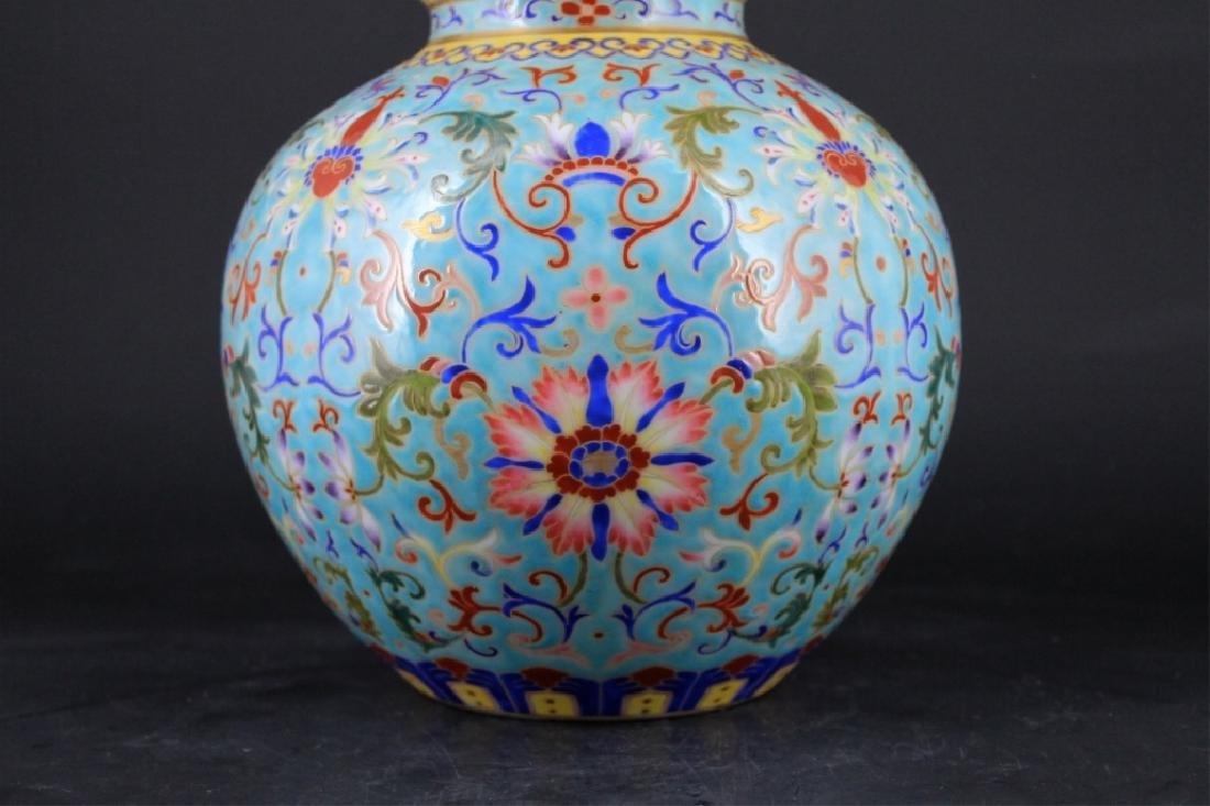 Large Chinese Qing Porcelain Famille Rose Gourd Va - 3