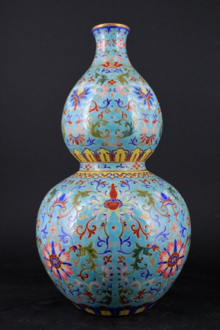 Large Chinese Qing Porcelain Famille Rose Gourd Va - 4