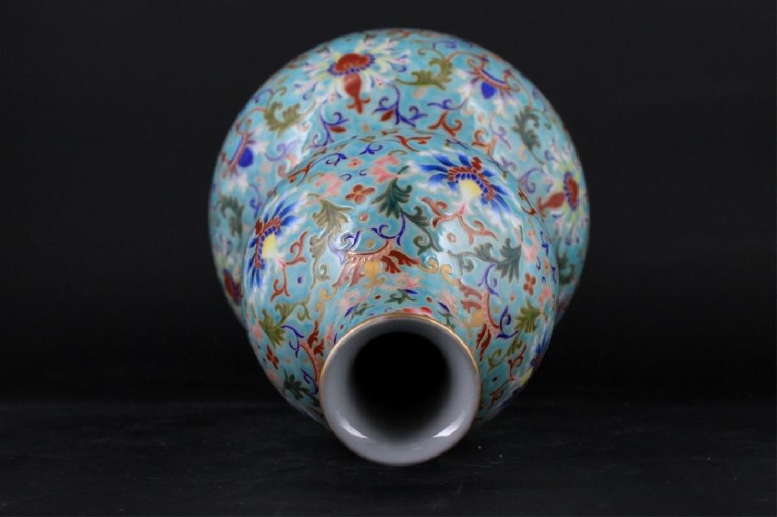 Large Chinese Qing Porcelain Famille Rose Gourd Va - 6