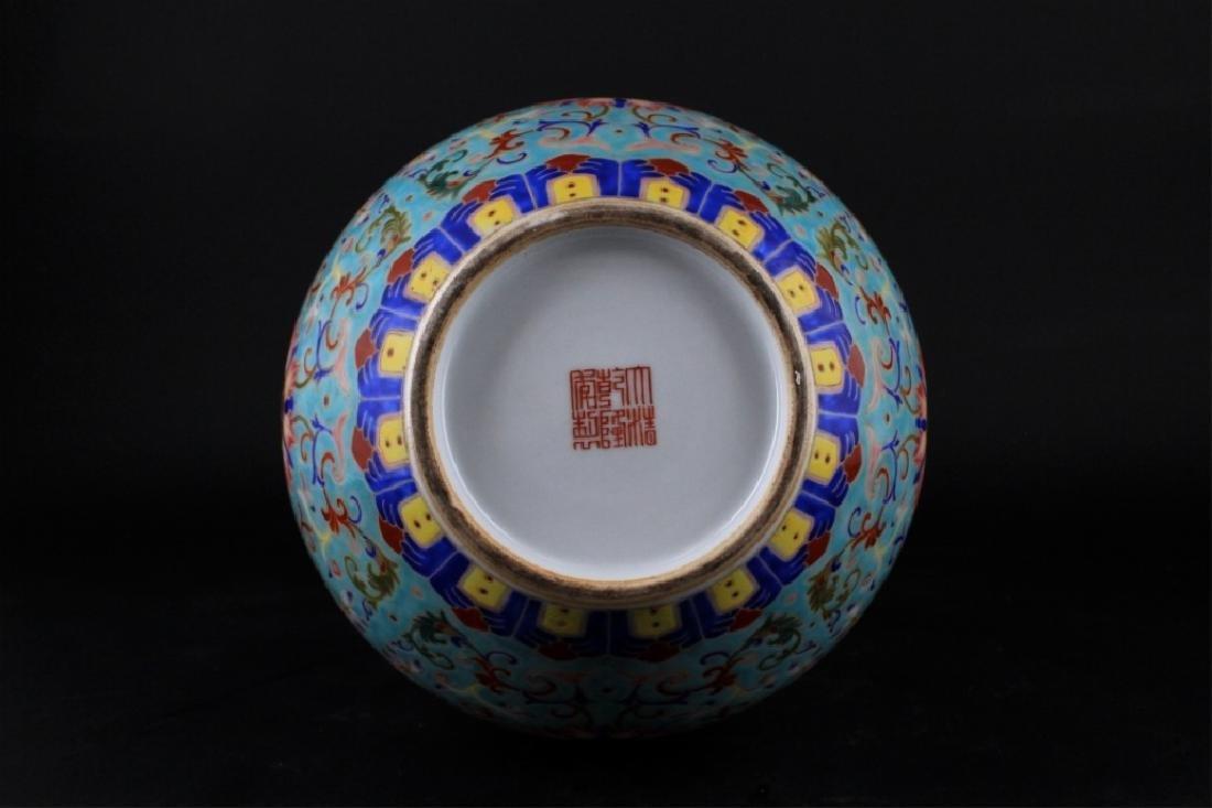 Large Chinese Qing Porcelain Famille Rose Gourd Va - 8