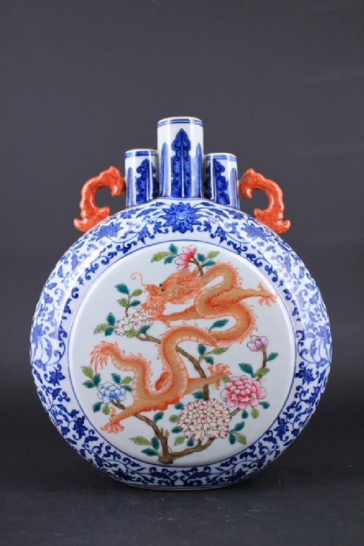 Chinese Qing Porcealin Blue&White Flask