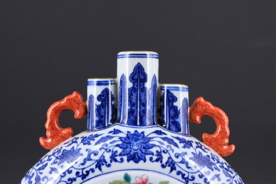 Chinese Qing Porcealin Blue&White Flask - 2