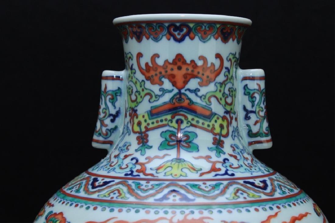 Large Chinese Qing Porcelain DouCai Dragon Vase - 6