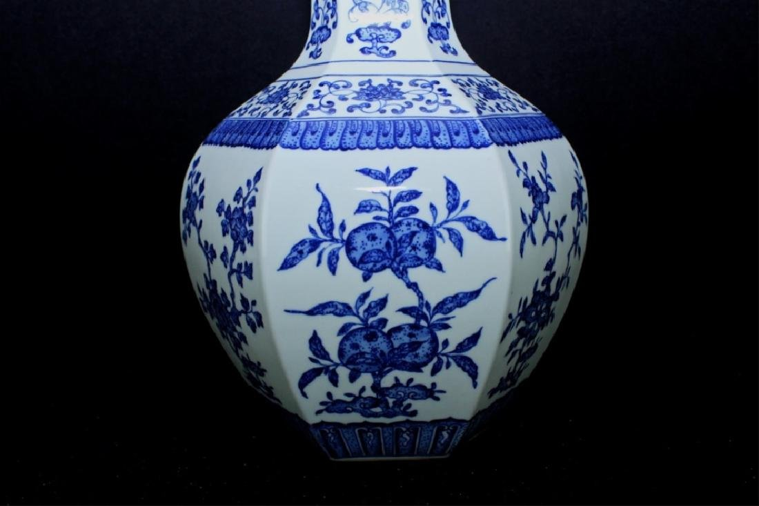 Large Hexagon Qing Porcelain Blue&White Vase - 2