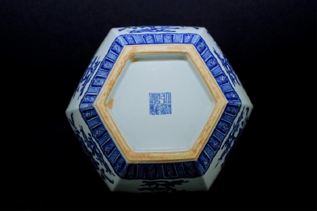 Large Hexagon Qing Porcelain Blue&White Vase - 6