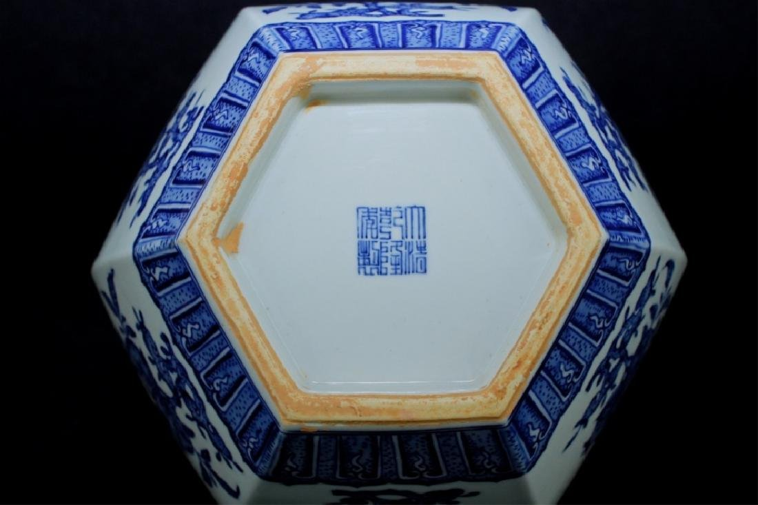 Large Hexagon Qing Porcelain Blue&White Vase - 7