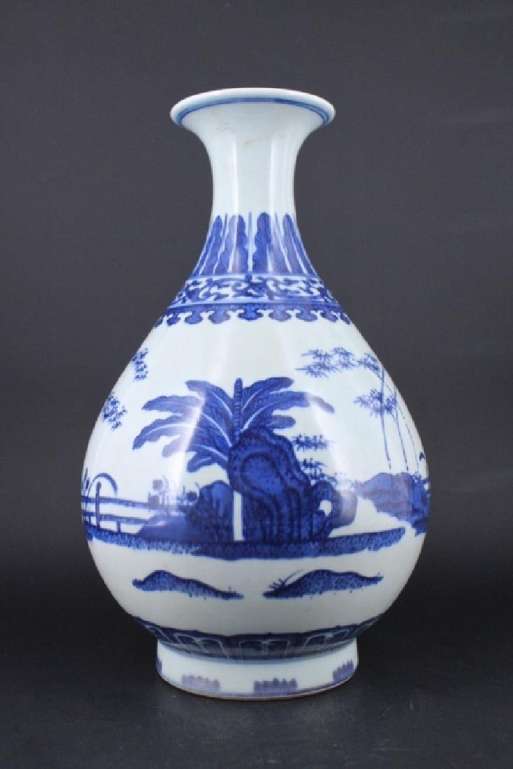 Chinese Qing Porcelain Blue&White Floral Vase