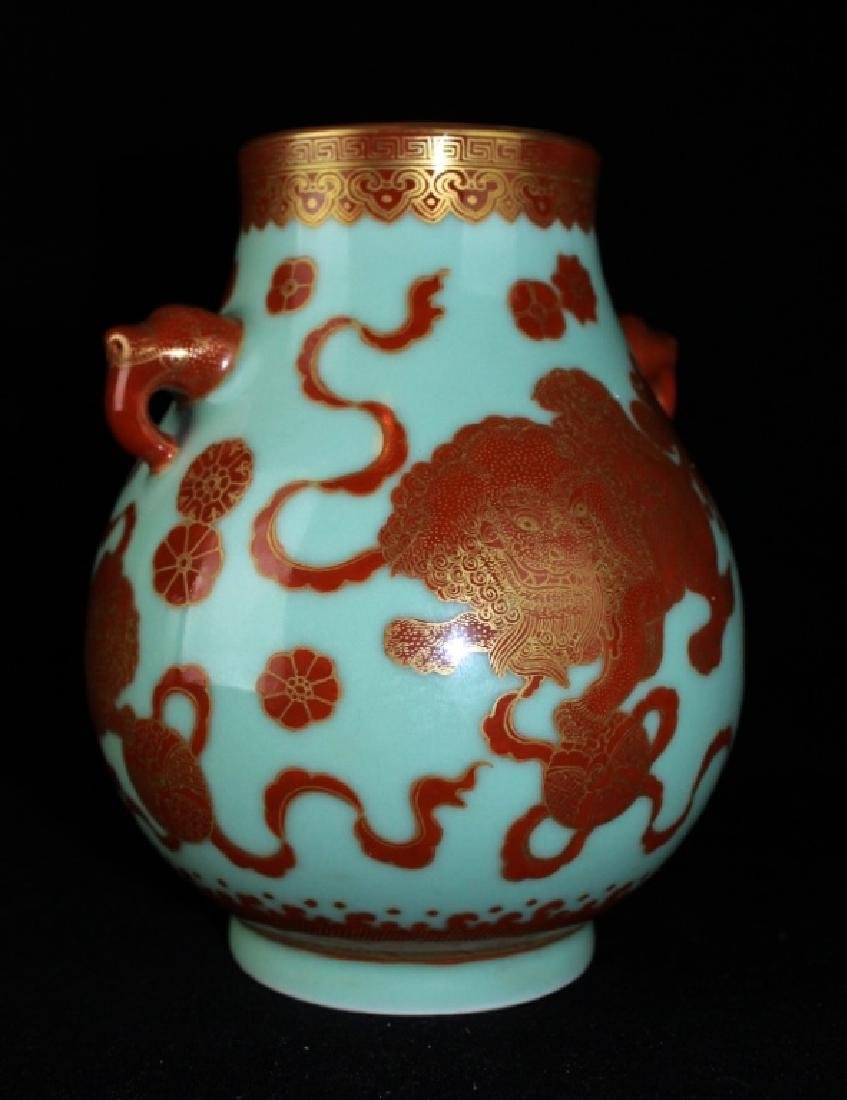 Chinese Qing Porcelain Gilted Gold Lion Vase - 2