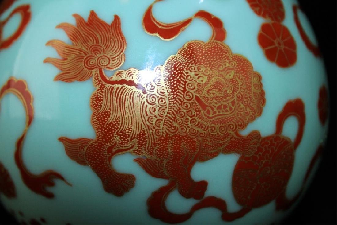 Chinese Qing Porcelain Gilted Gold Lion Vase - 7