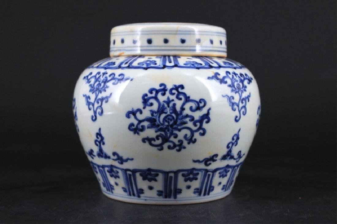 Chinese Ming Porcelain Blue&White Jar with Lid