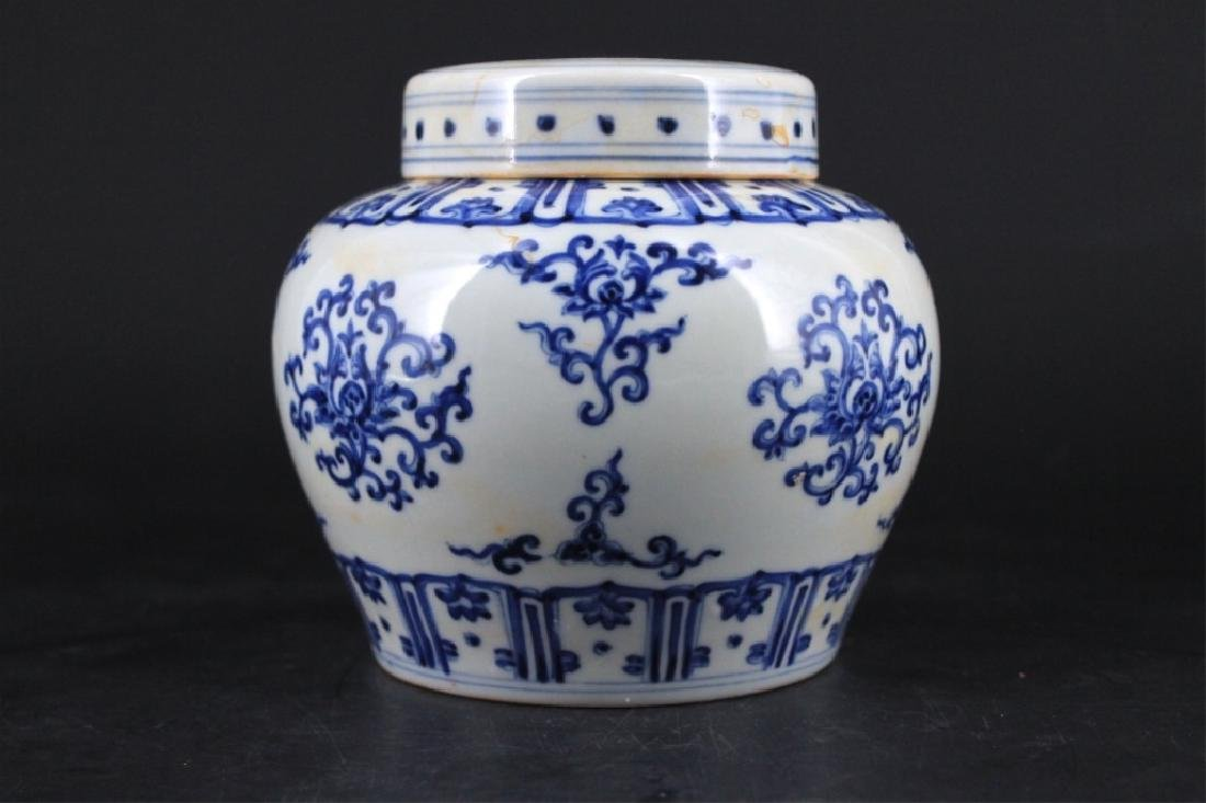 Chinese Ming Porcelain Blue&White Jar with Lid - 2