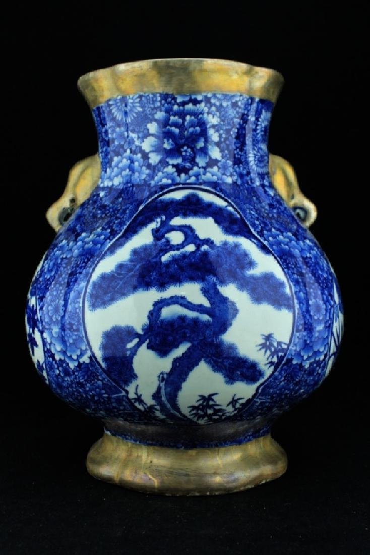 Large Qing Porcelain Vase with Silver Mount