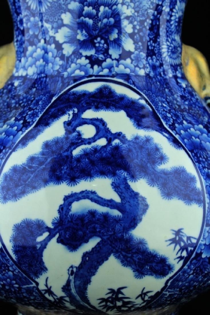 Large Qing Porcelain Vase with Silver Mount - 3