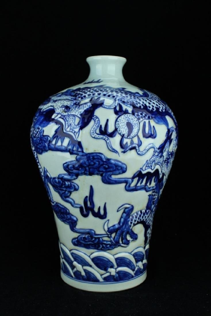 Large Qing Porcelain Blue&White Dragon Vase