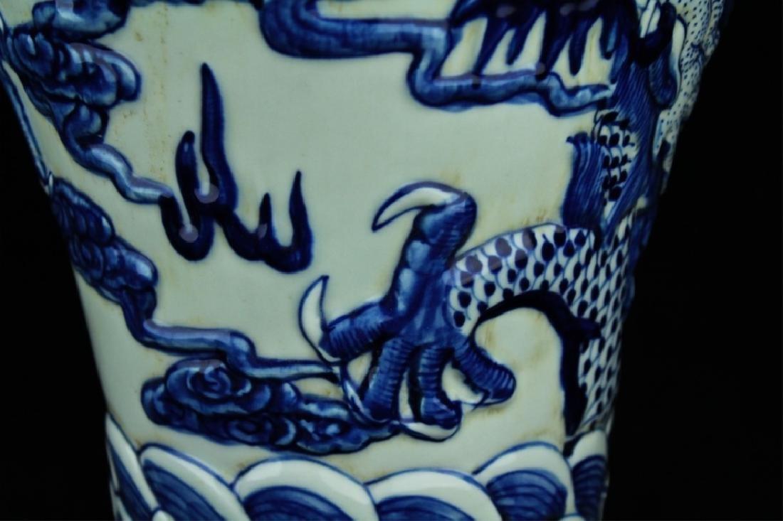 Large Qing Porcelain Blue&White Dragon Vase - 3