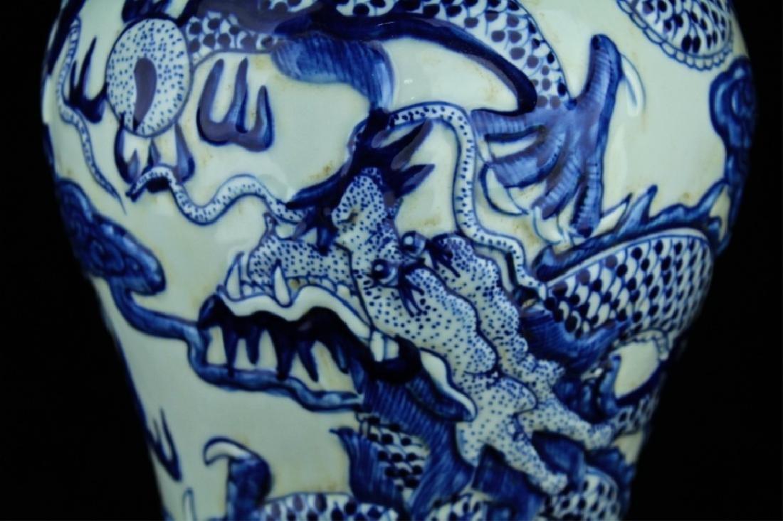 Large Qing Porcelain Blue&White Dragon Vase - 4