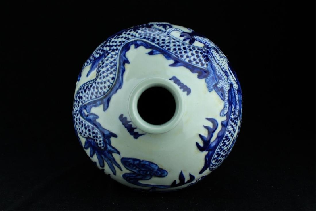 Large Qing Porcelain Blue&White Dragon Vase - 6