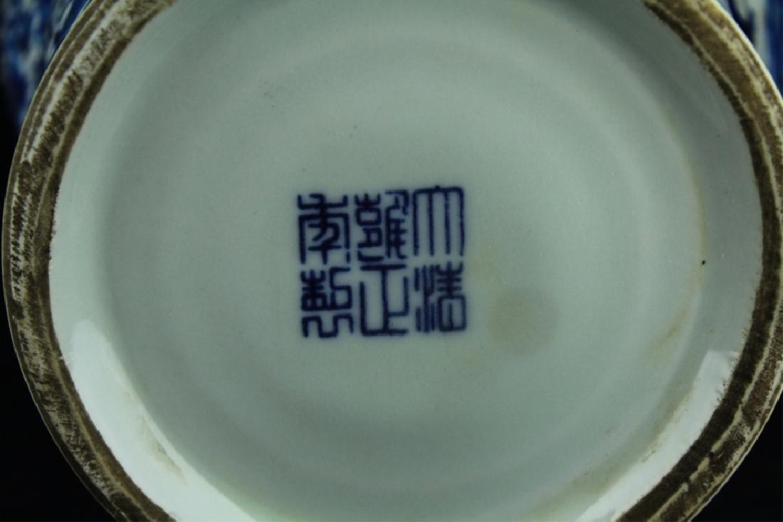 Large Qing Porcelain Blue&White Dragon Vase - 8