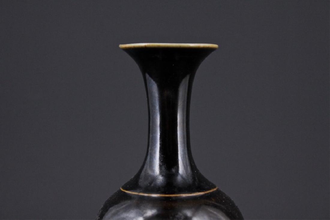 Chinese Qing Porcelain Black Glaze Vase - 2