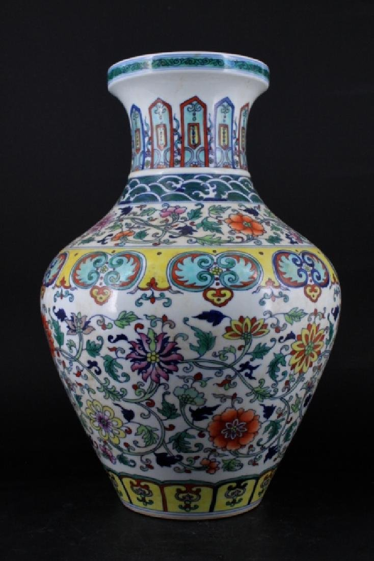 Chinese Qing Porcelain DouCai Vase - 3