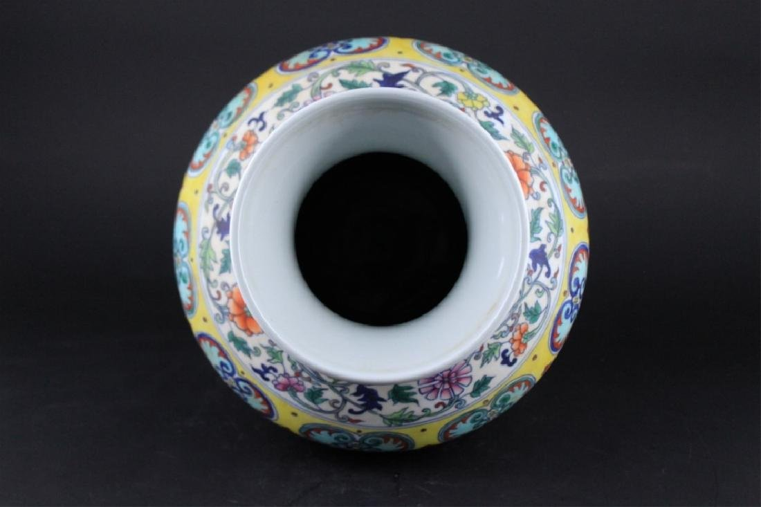 Chinese Qing Porcelain DouCai Vase - 6