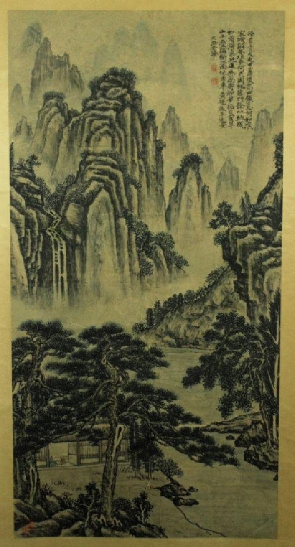 Chinese Scrolled Hand Painting Signed by Shi Tao
