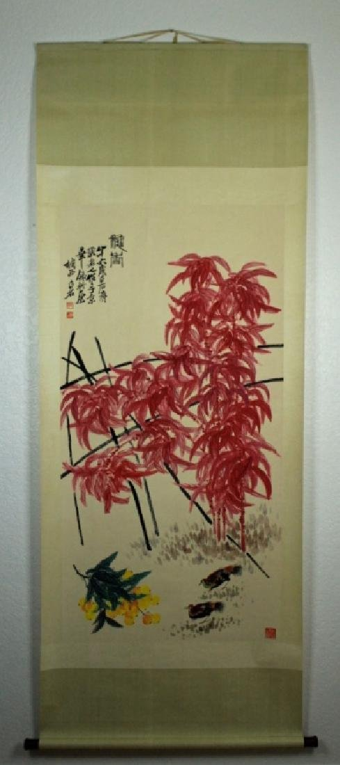 Chinese Scrolled Hand Painting Signed by Qi Bai Sh - 2