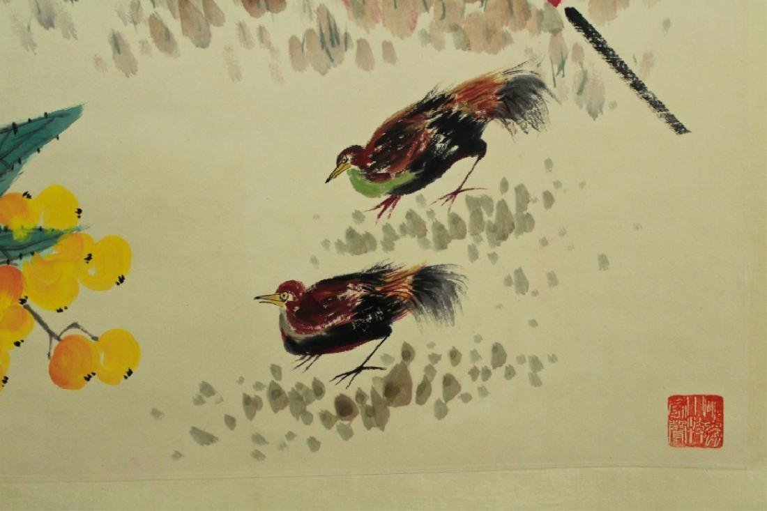 Chinese Scrolled Hand Painting Signed by Qi Bai Sh - 7