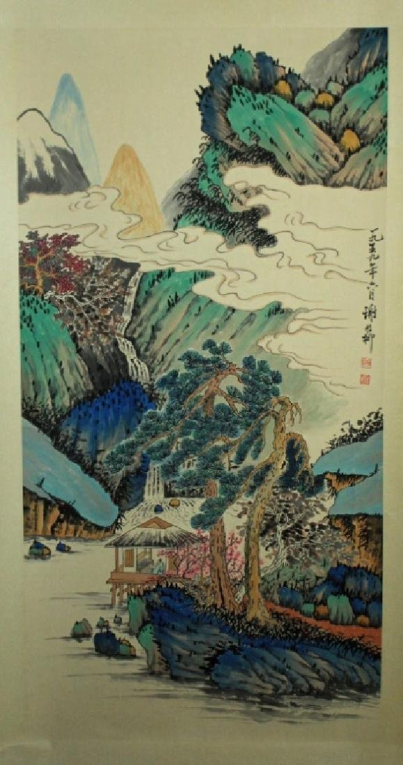 Chinese Scrolled Hand Painting Signed by Xie Zhi L