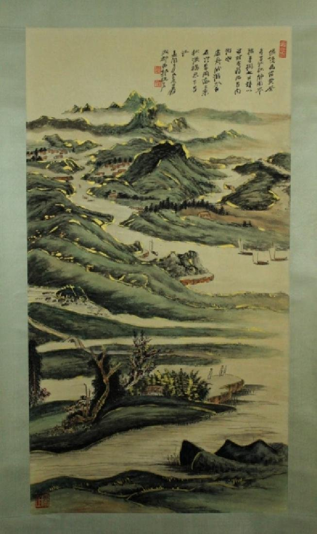 Chinese Scrolled Hand Painting Signed by Zhang Da