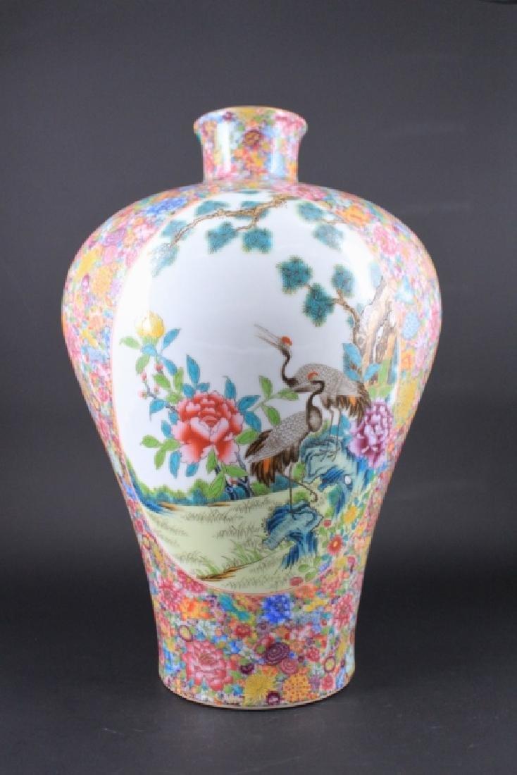 Large Chinese Qing Porcealin Famille Rose Vase