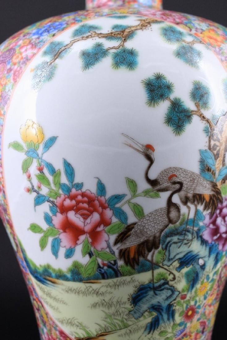 Large Chinese Qing Porcealin Famille Rose Vase - 2
