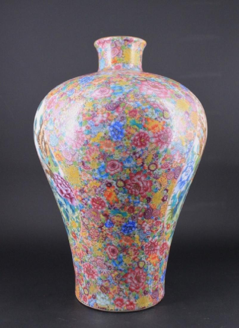 Large Chinese Qing Porcealin Famille Rose Vase - 4