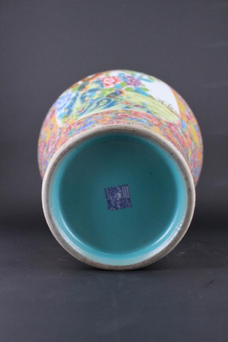 Large Chinese Qing Porcealin Famille Rose Vase - 9