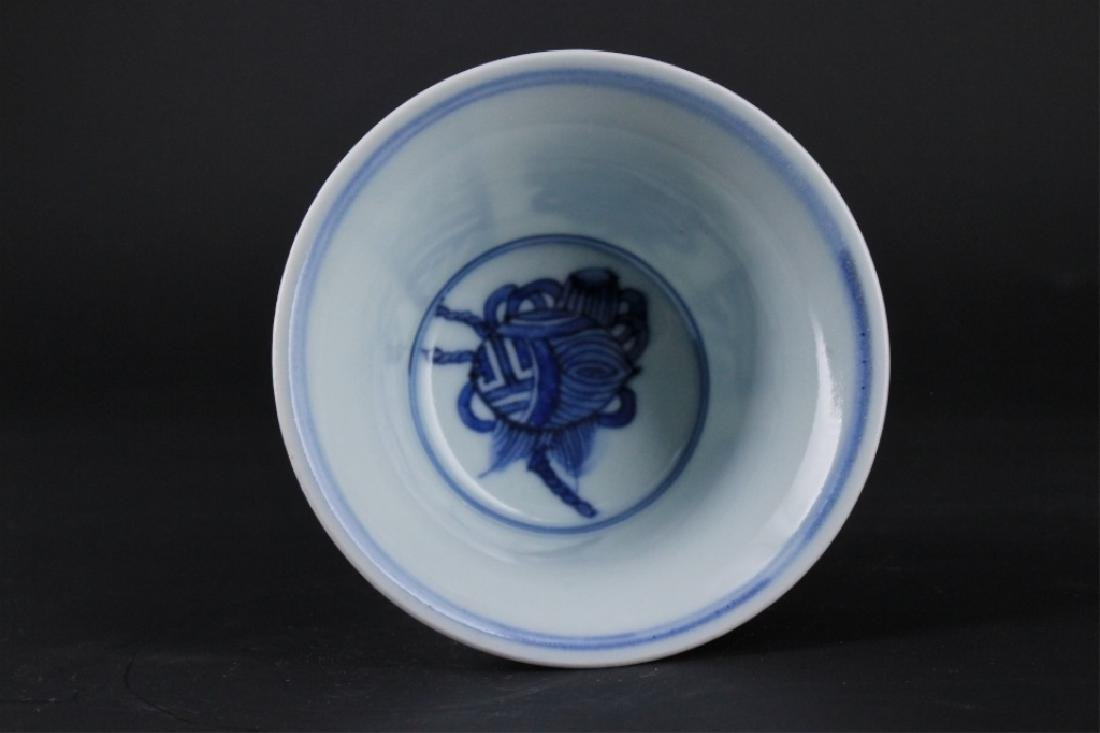 Chinese Ming Porcelain Blue&White Handle Cup - 4
