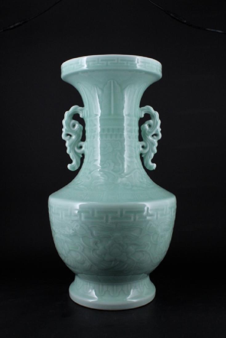 Large Chinese Qing Porcelain Light Blue Vase