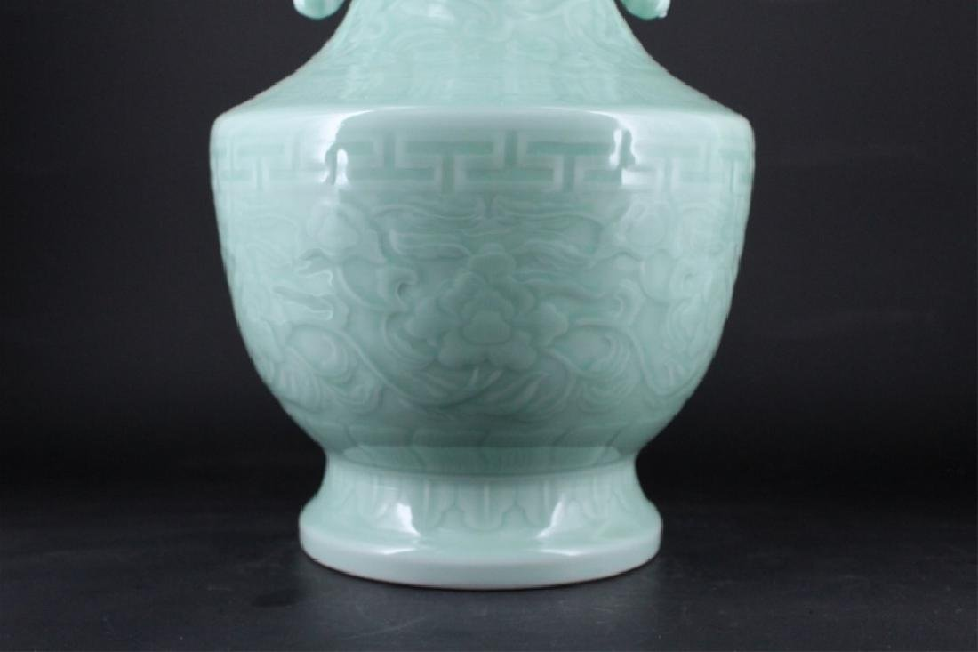 Large Chinese Qing Porcelain Light Blue Vase - 3