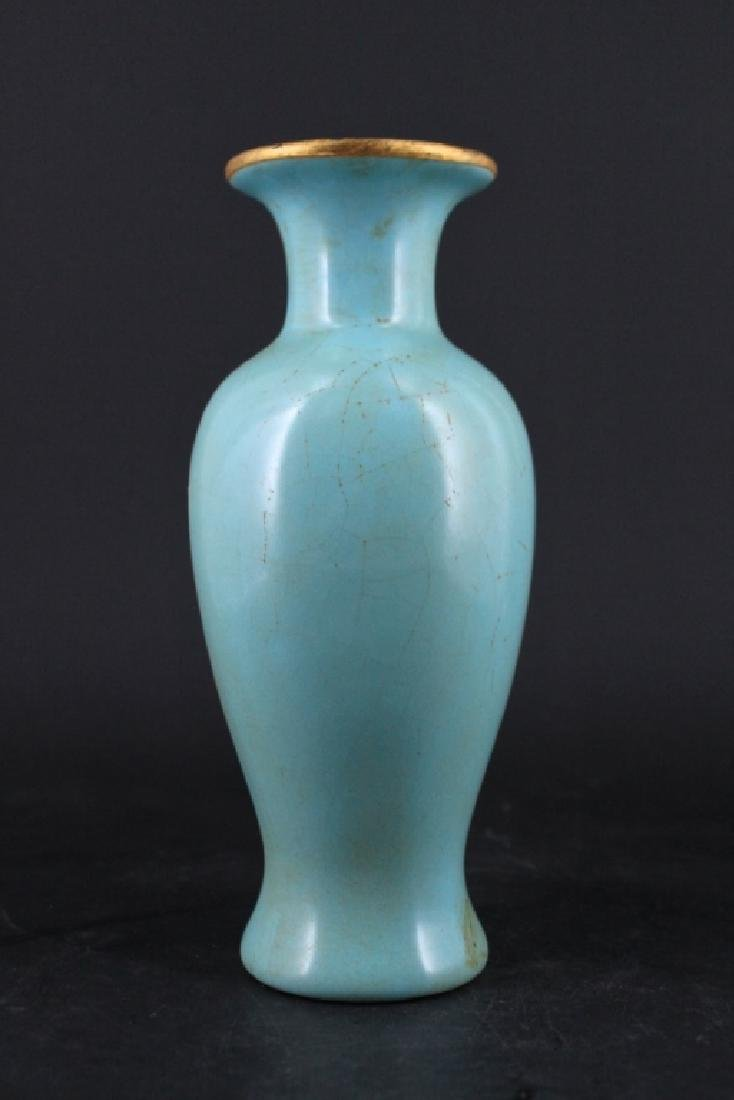 Chinese Song Porcelain RuYao Vase with Gold Mount