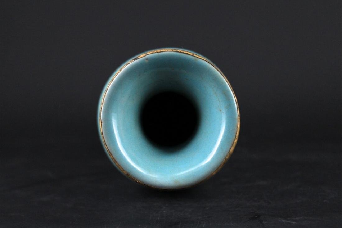 Chinese Song Porcelain RuYao Vase with Gold Mount - 2