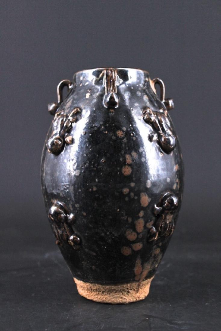 Chinese Qing Porcelain Black Glaze Vase