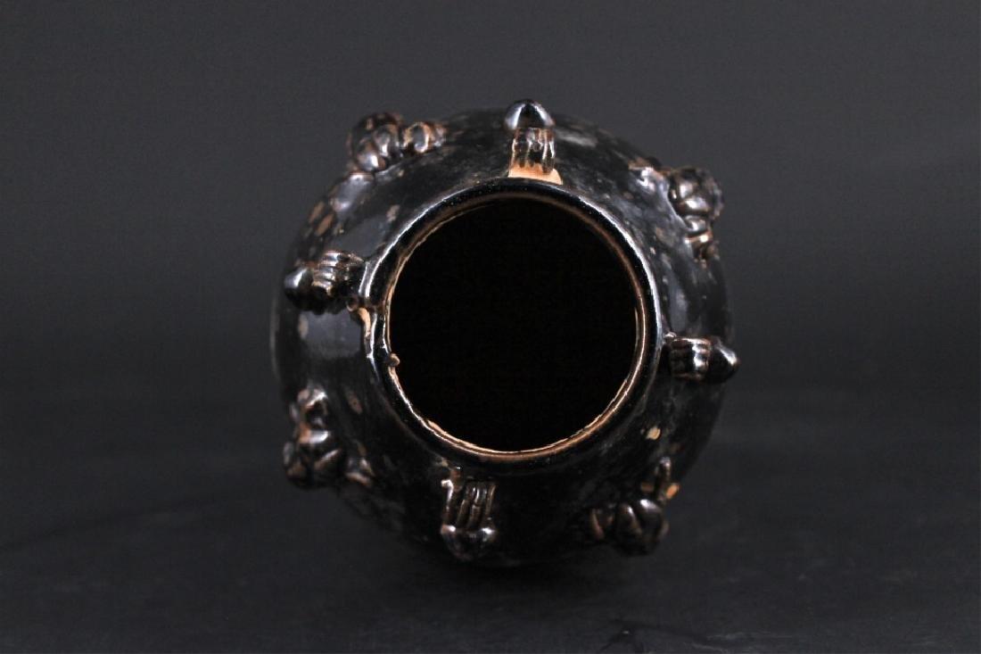 Chinese Qing Porcelain Black Glaze Vase - 3