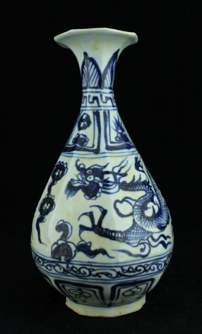 Chinese Yuan Porcelain Blue&White Dragon Vase