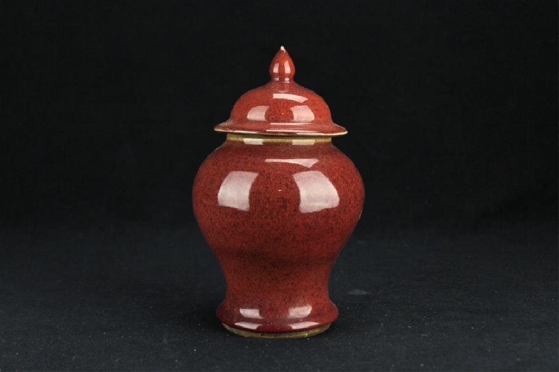 Chinese Qing Porcelain Red Vase with Lid